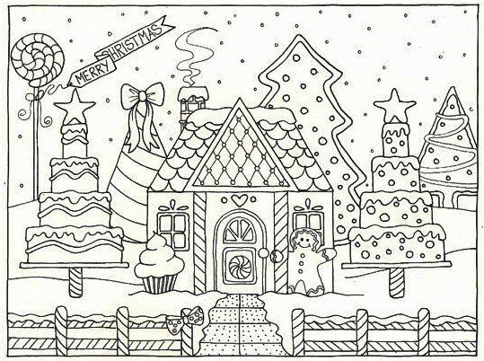 Gingerbread House Christmas Coloring Pages House Colouring