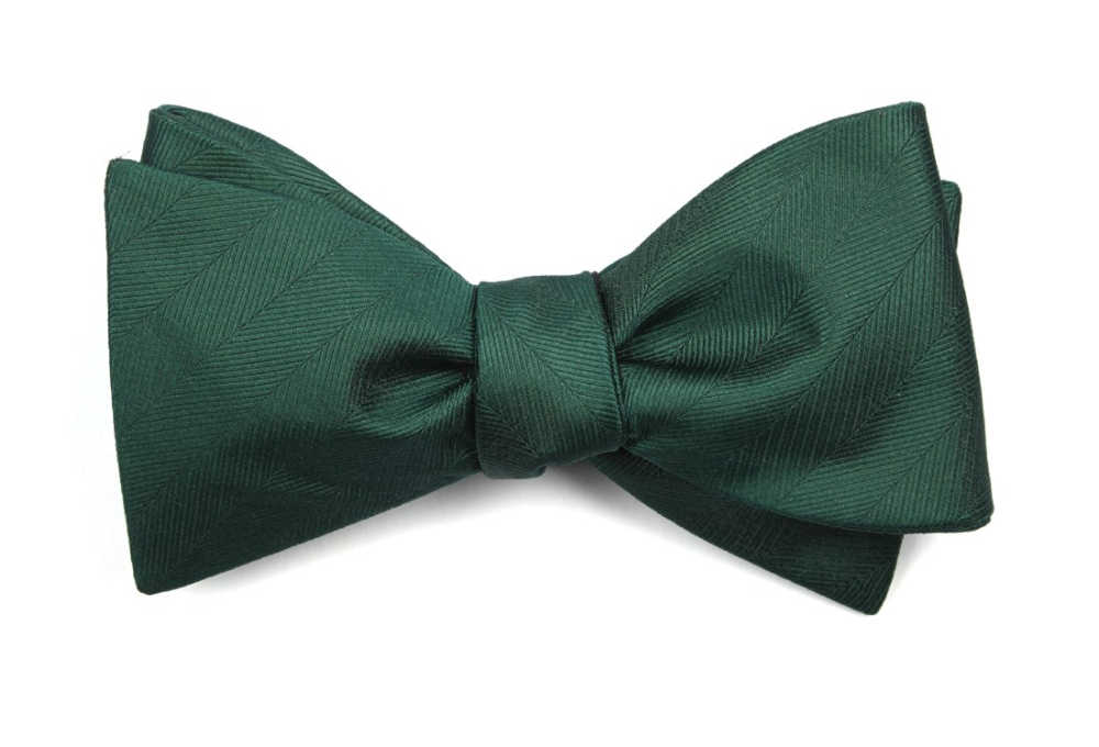Herringbone Vow Hunter Green Bow Tie Men S Bow Ties In 2020 Green Bow Tie Green Bows Hunter Green