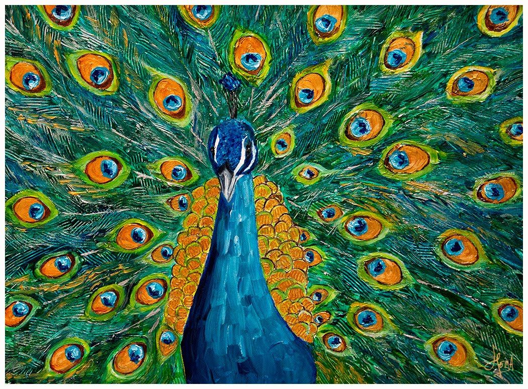Peacock Art Done on a 18X24 canvas and painted mainly