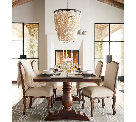 Feast Your Eyes Gorgeous Dining Room Decorating Ideas: Amelia Wood Bead Chandelier