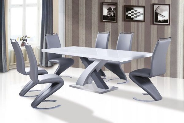 Axara Extendable Dining Table In White High Gloss With Stainless Steel Base  and 6 Summer Dining. Axara Extendable Dining Table In White With 6 Summer Grey Chairs