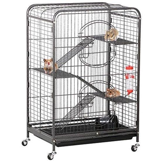 YAHEETECH Large Rolling Cat Kitten Cage 6-Tier 52 Metal Kitten House for Ferret Chinchilla Rabbit Squirrels w// 3 Front Doors//Pet Bowl//Water Bottle