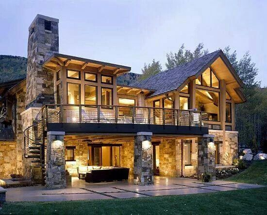 Love The Look Of This House With The Stone And Wood Modernes