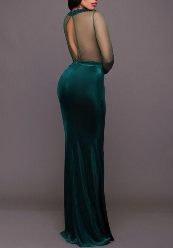 Green Embroidery Grenadine Draped See-through Mermaid Backless Cocktail Party Maxi Dress #backlesscocktaildress