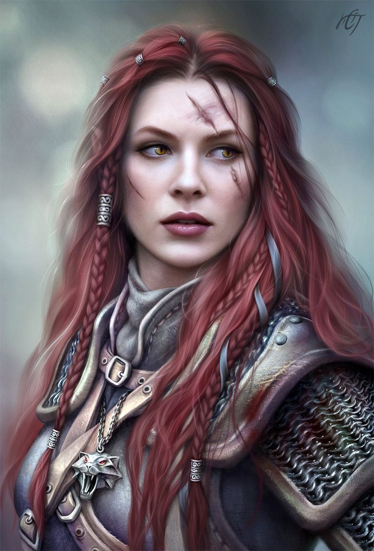 female warrior knight with red hair and scars rpg