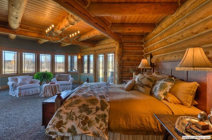 Luxury Log Homes Master Bedroom