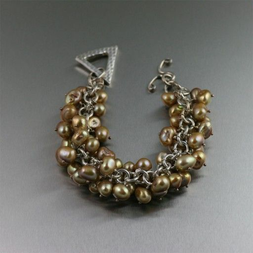 Handmade Gold Freshwater Pearl Sterling Silver Chain Maille Bracelet http://www.johnsbrana.com/gold-freshwater-pearl-sterling-silver-chain-maille-bracelet.html  $360.00 #Chainmail #FreshwaterPearls #ChainBracelets