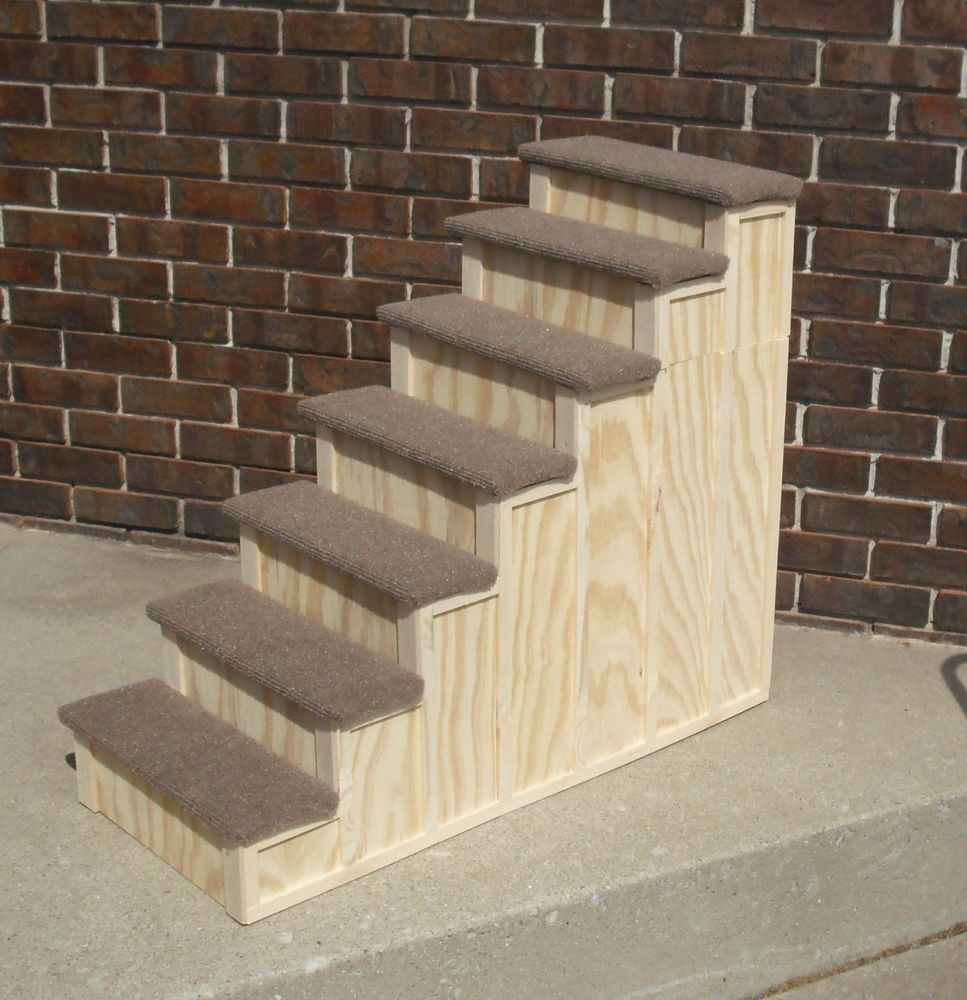 30 X 36 Inch Wood Pet 7 Steps Tall Bed Step Stain Choice Any Size Dog Or Cat