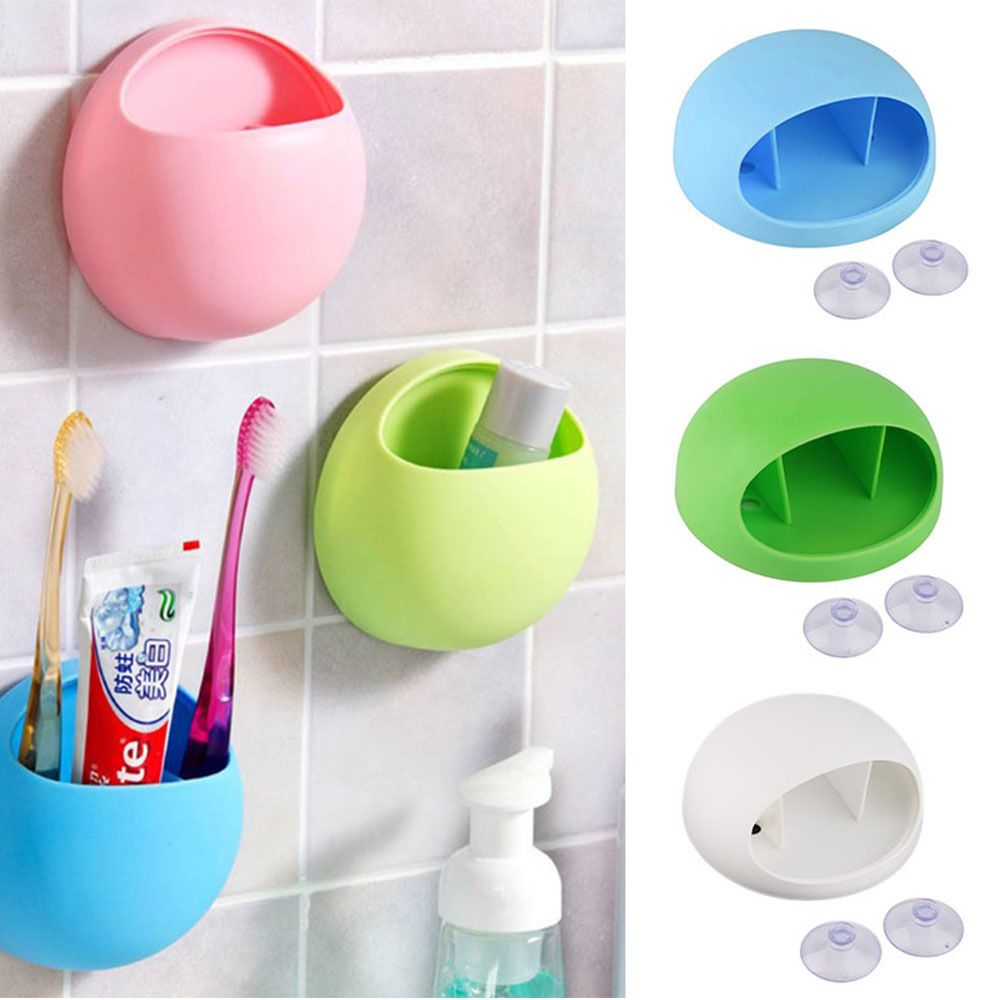 Suction Cup Wall Mounted Stand Toothpaste Storage Rack Toothbrush Holder