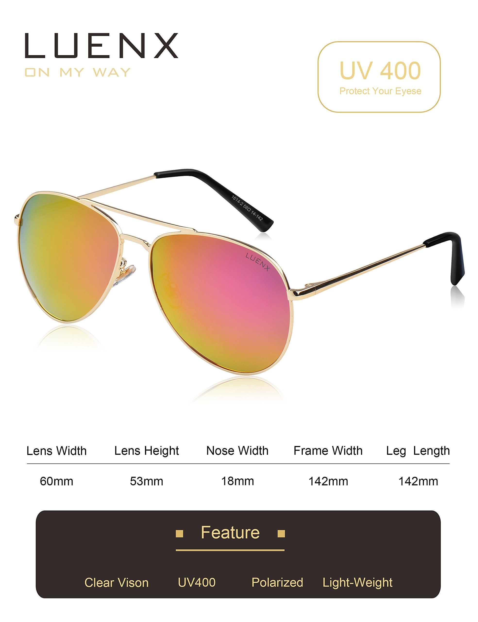 44707daf66 LUENX Aviator Sunglasses Polarized Men Women with Accessories Metal Frame  UV 400 60MM Rose Red 7