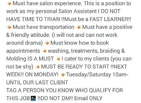 Email resume to kdavis829@gmail NATURAL HAIR SALON - email for resume