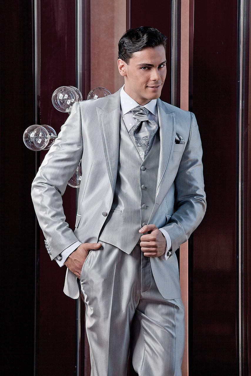 2016 Silver Gray European Mens Suits Handsome Slim Fit Groom ...
