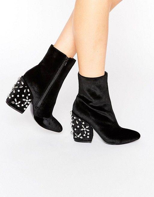 ASOS   ASOS ENDORIA Velvet Embellished Heel Ankle Boots   shoe ... 8d4a1fee612b