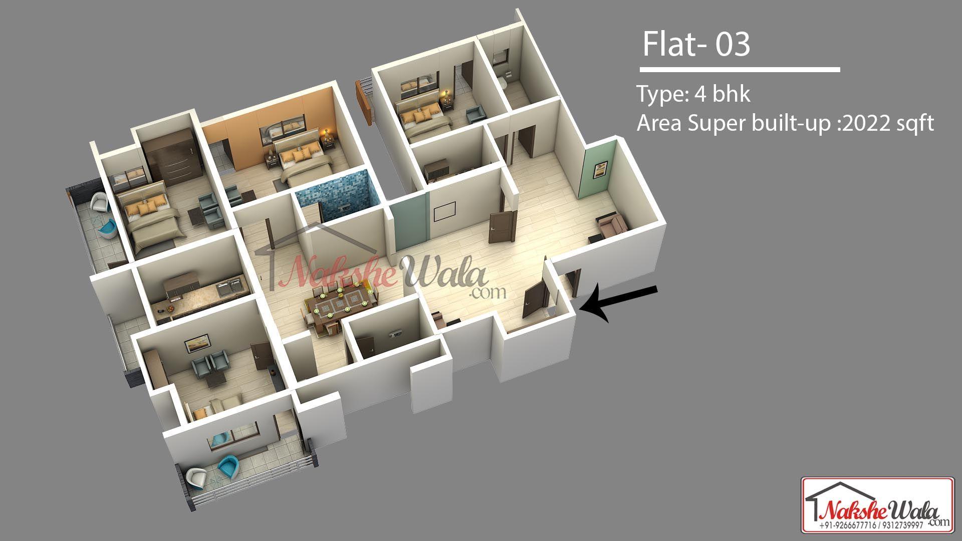 4 Bhk 3d Floor Plan Designed By Nakshewala Com Contact 91 8010822233 Floor Plan Design Floor Plans Floor Plan Layout