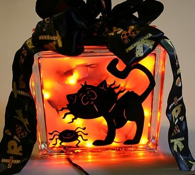 One Scrap at a Time Spooky Halloween Lighted Glass Block Let - halloween lighted decorations