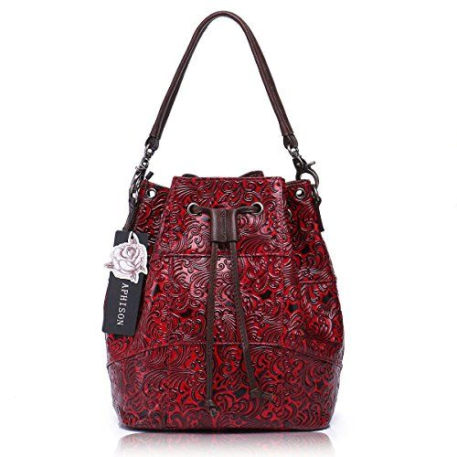 Aphison Bucket Bag Soft Genuine Leather Retro Drawstring Tote For Women Crossbody With