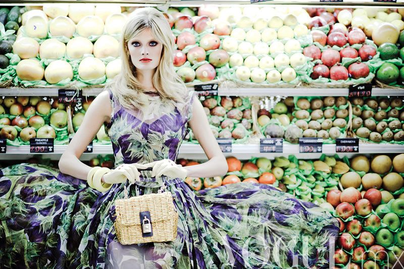 I love how this dress blends in with the vegatables in this picture...    Also I always wear Dolce and Gabbana to the grocery store so I can relate haha