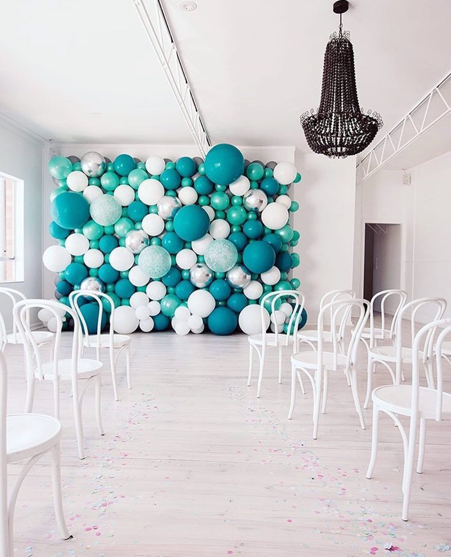 Aqua Blue White Balloon Backdrop Decor De Ballons Bleus Turquoise Et Blancs