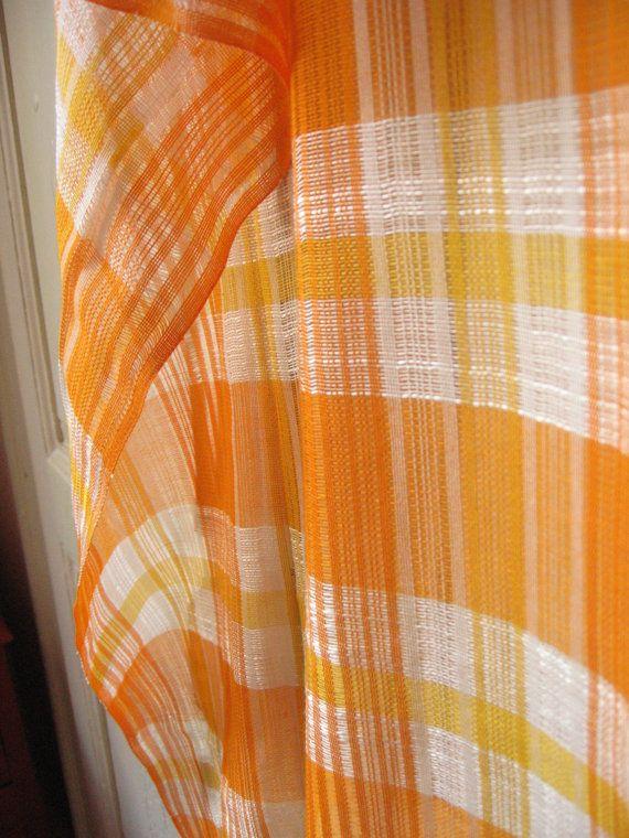2 Rideaux 70 S A Carreaux Orange Et Blanc Voilage Vintage Tartan
