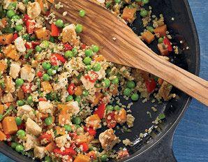 Sweet potato quinoa chicken peas and herbs stir fry. Uh, sounds amazing!