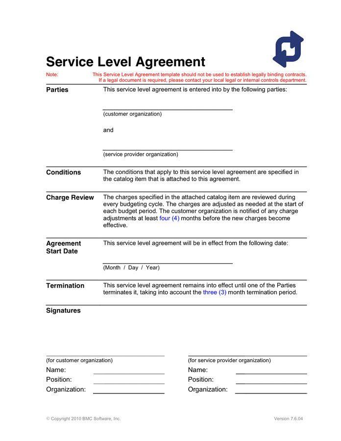 Service Level Agreement Template Elegant Service Level ...