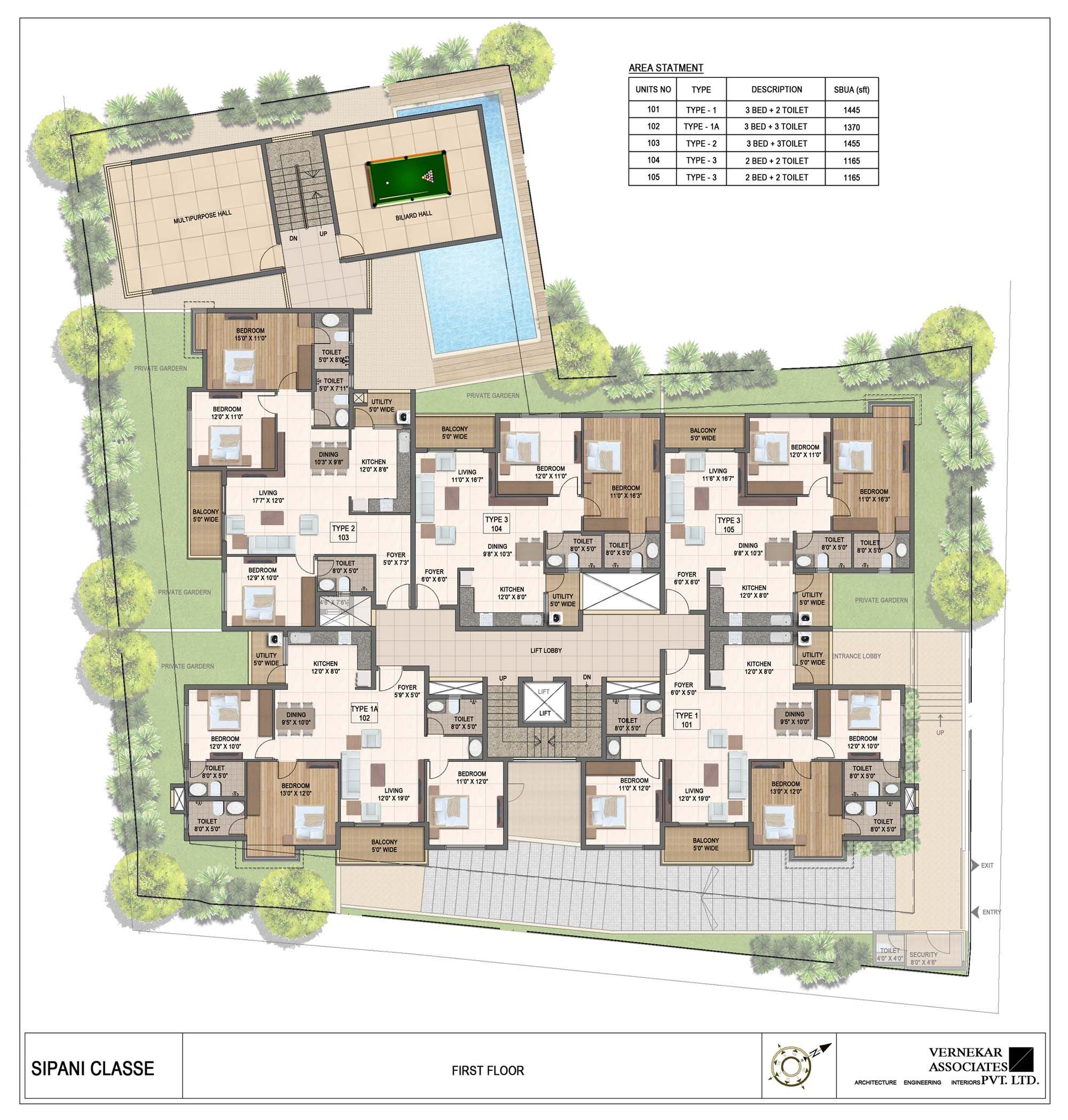Sipani Classe Layout Architectural floor plans