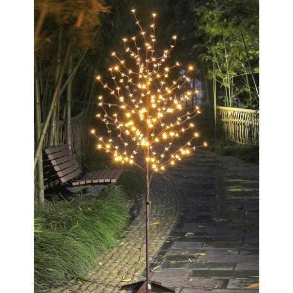 Lightshare 6 Ft Pre Lit Cherry Blossom Tree With 208 Warm White Lights Xths208b6ft Ww The Home Cherry Blossom Light Tree Blossom Trees Diy Outdoor Lighting