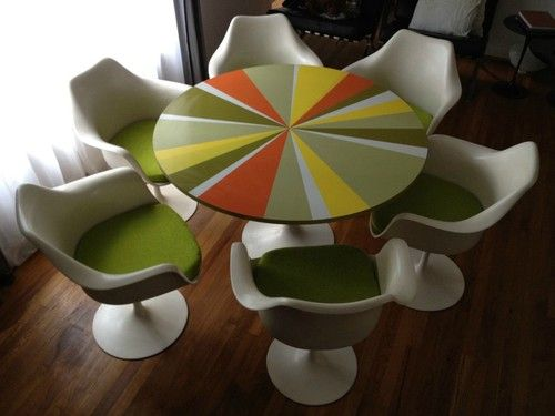 6 Original Vintage Real Knoll Tulip Chair And Matching