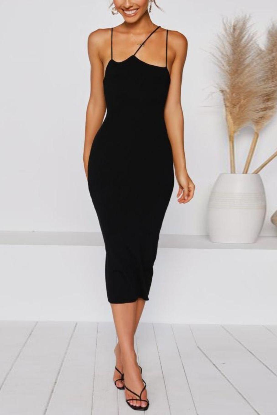 Solid Color Slim Fit Midi Dress Fitted Midi Dress Dresses Midi Dress [ 1366 x 911 Pixel ]