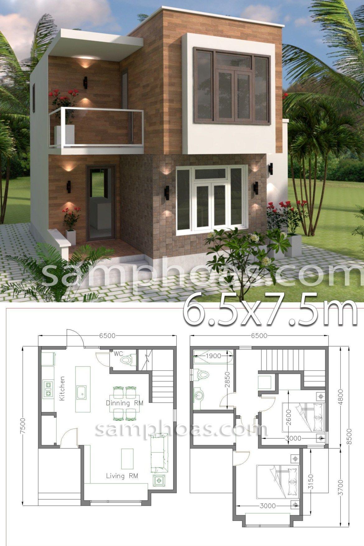 Small House Design With Full Plan 6 5x7 5m 2 Bedrooms Projetos De Casas Pequenas Design De Casa Minimalista Plantas De Casas