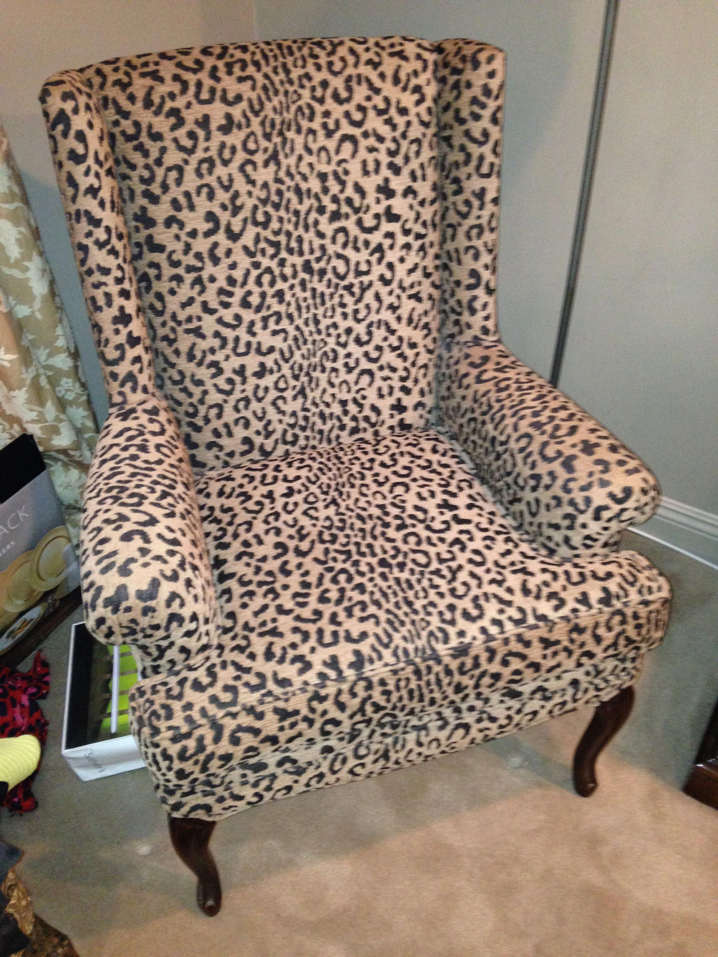 2 Leopard Wing Back Chairs For Bride Groom Dining Leopardchair