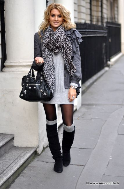 boots with socks and sheer tights, paired with a layered up sweater dress ~ super cute =)