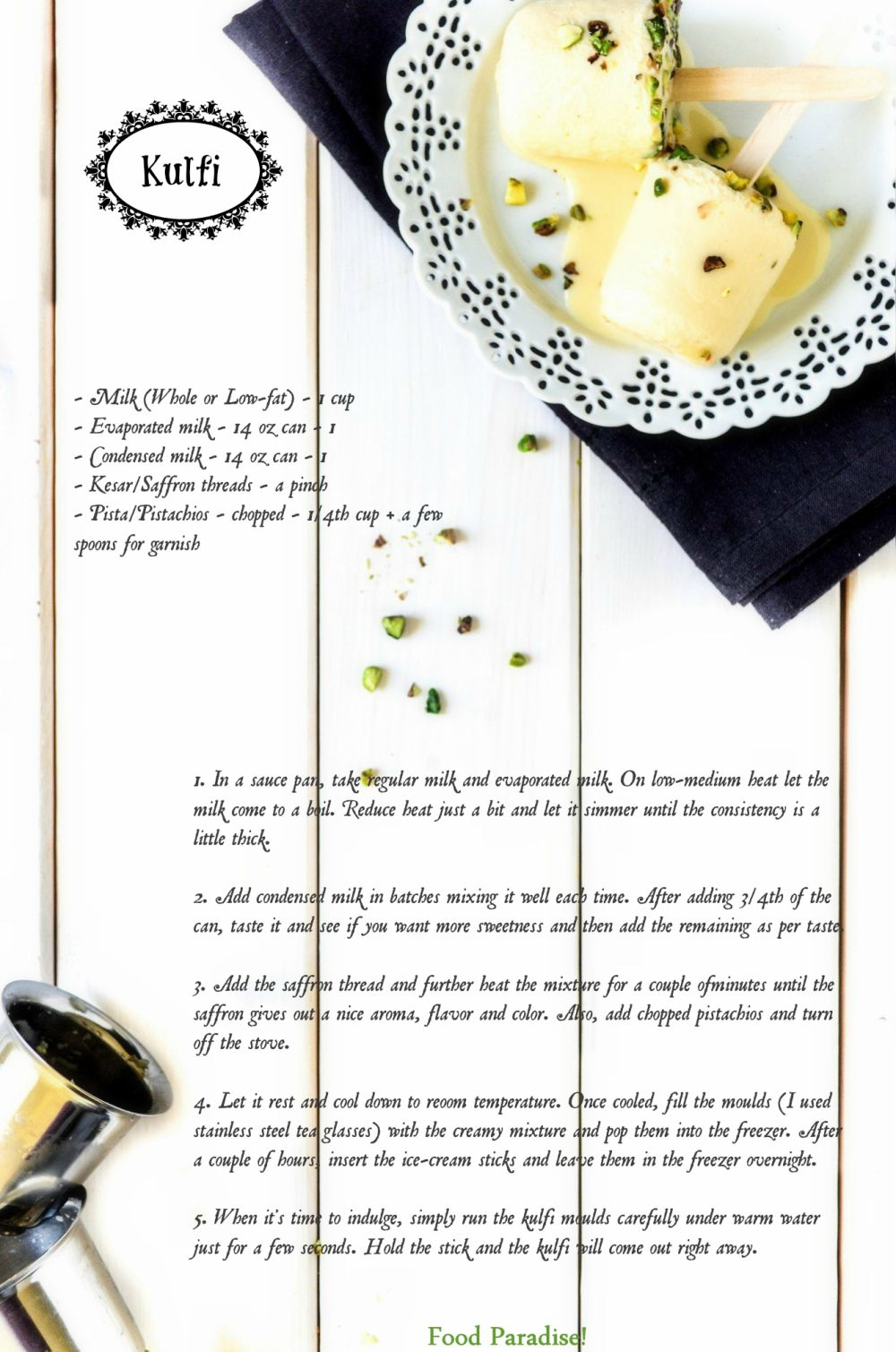 Kesar Pista Kulfi Recipe Card Kulfi Recipe Pistachio Ice Cream Kulfi