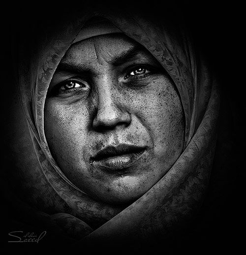 Photograph by saeed al alawi tags portrait photo face woman black white