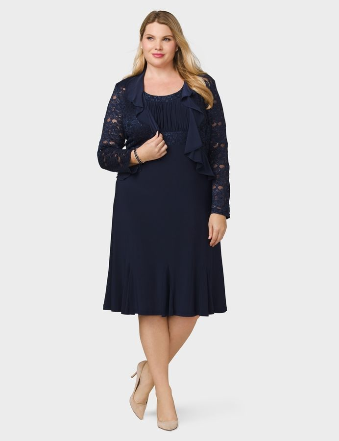 Dressbarn Plus Size Lace Ruffled Jacket Dress Female Fashion And
