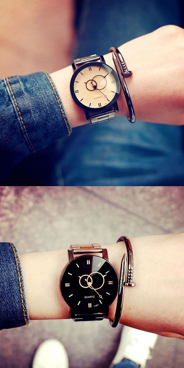 Leisure Harajuku Simple Steel Strip Couple Watch Student Quartz Watches