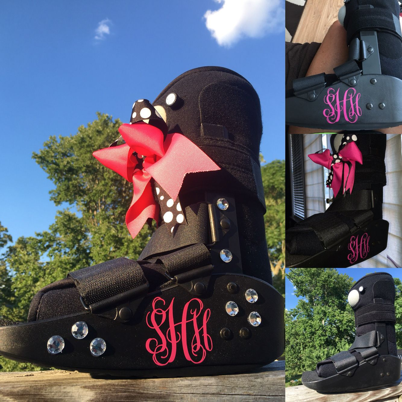 Bling and bow options for a walking boot  Cam walker  Cast