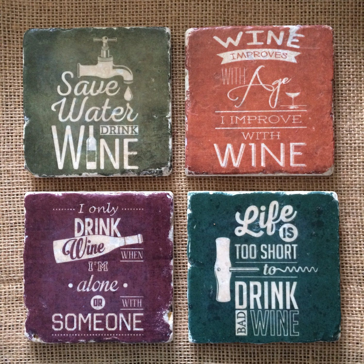 Funny Wine Sayings Natural Travertine Tile Coasters Gift For Wine Lovers Set Of 4 Wine Quotes Funny Gifts For Wine Lovers Wine Quotes