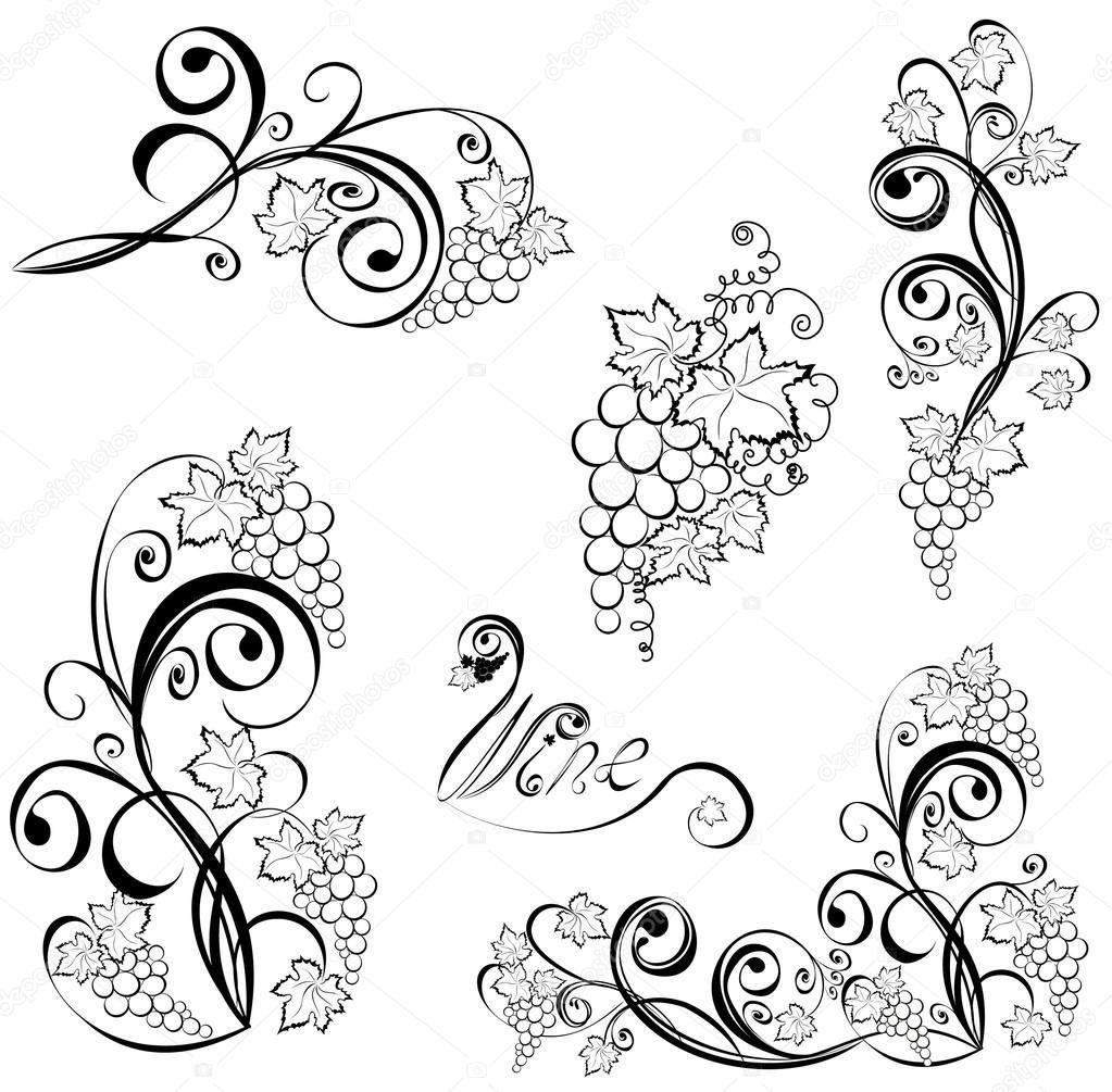 Weinrebe. Wein schwarz-weiß Design-Elemente | Tattoos I Want ...