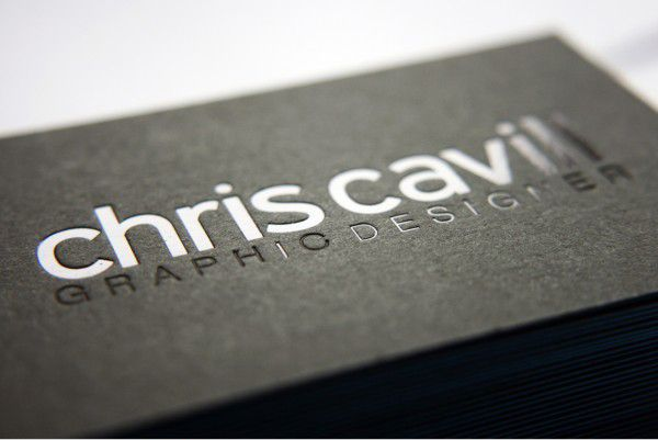 Chris cavill design business cards blind embossing and business chris cavills business cards are pprinted onto 540gsm duplex gf smith board with blind embossing and matt black foil reheart Gallery