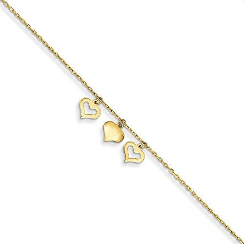 14k Gold 3 Hearts With 1 Inch Extension Anklet * Click image to review more details.