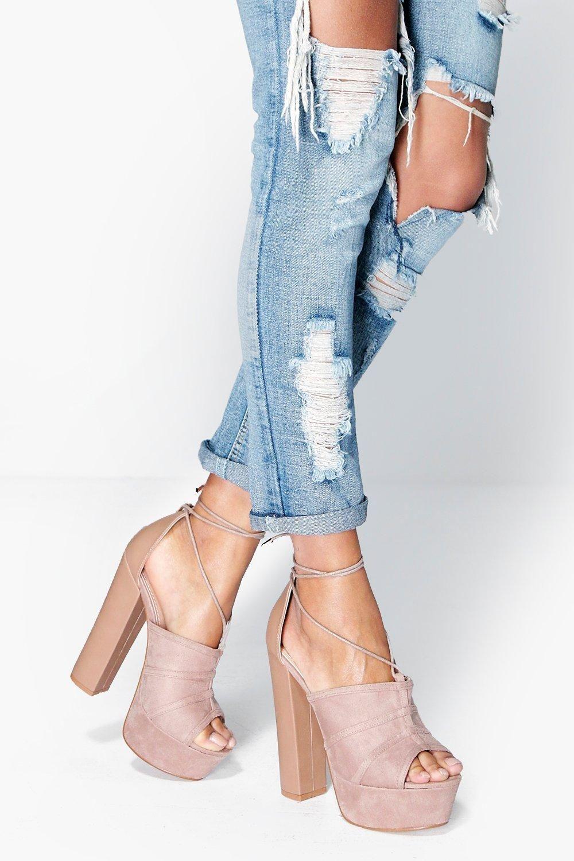 Boohoo Wrap Strap Platform Heels Factory Outlet Cheap Price 5ODhiIX0k