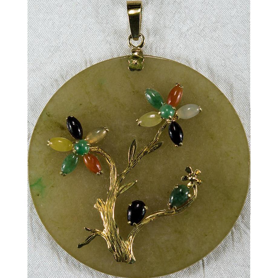 Jade pendant 14k gold jade bonsai tree natural jade pendant jade jade pendant 14k gold jade bonsai tree natural jade pendant jade disc pendant aloadofball Choice Image