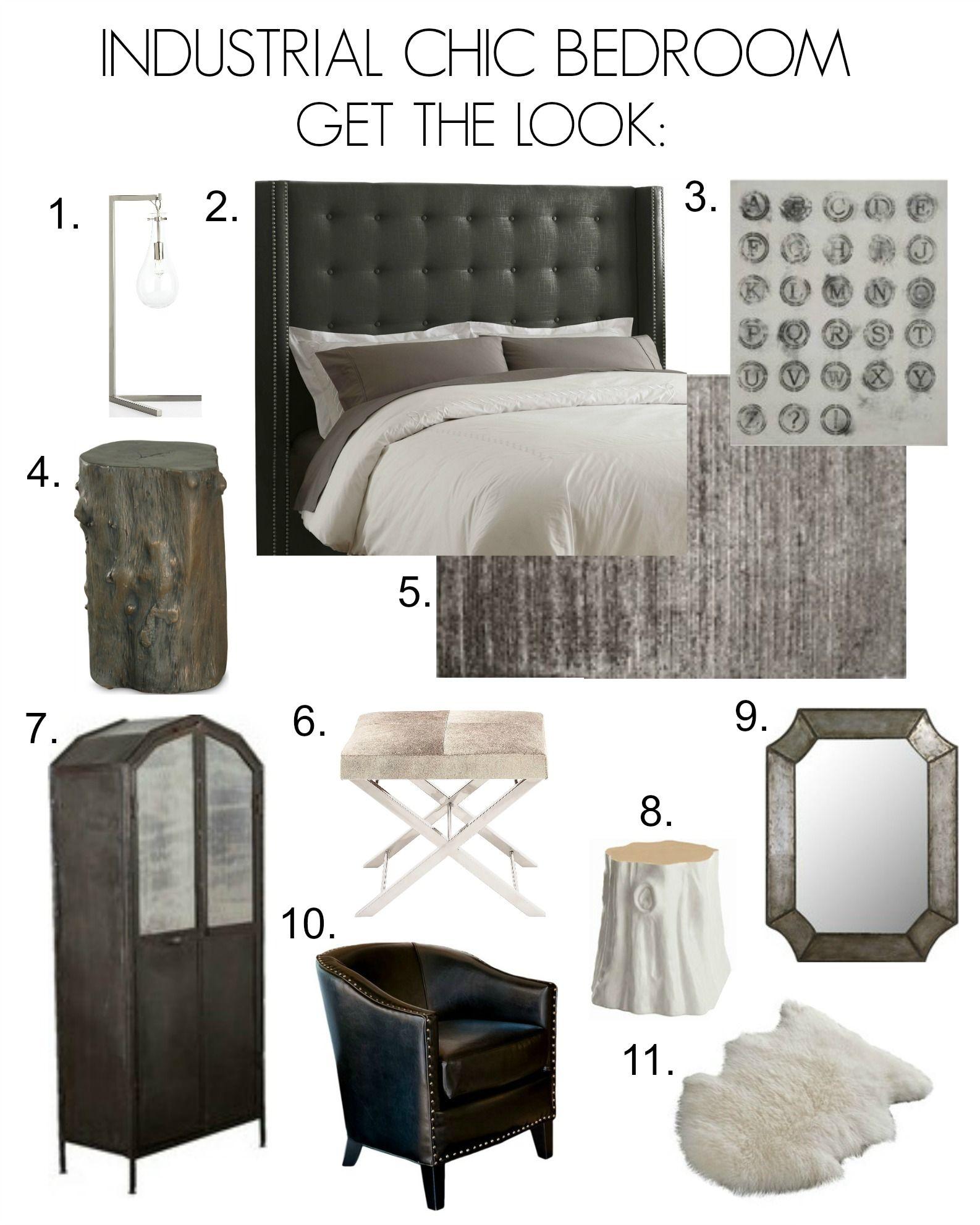 Industrial Chic Bedroom Inspiration Board Bedroom Industrial