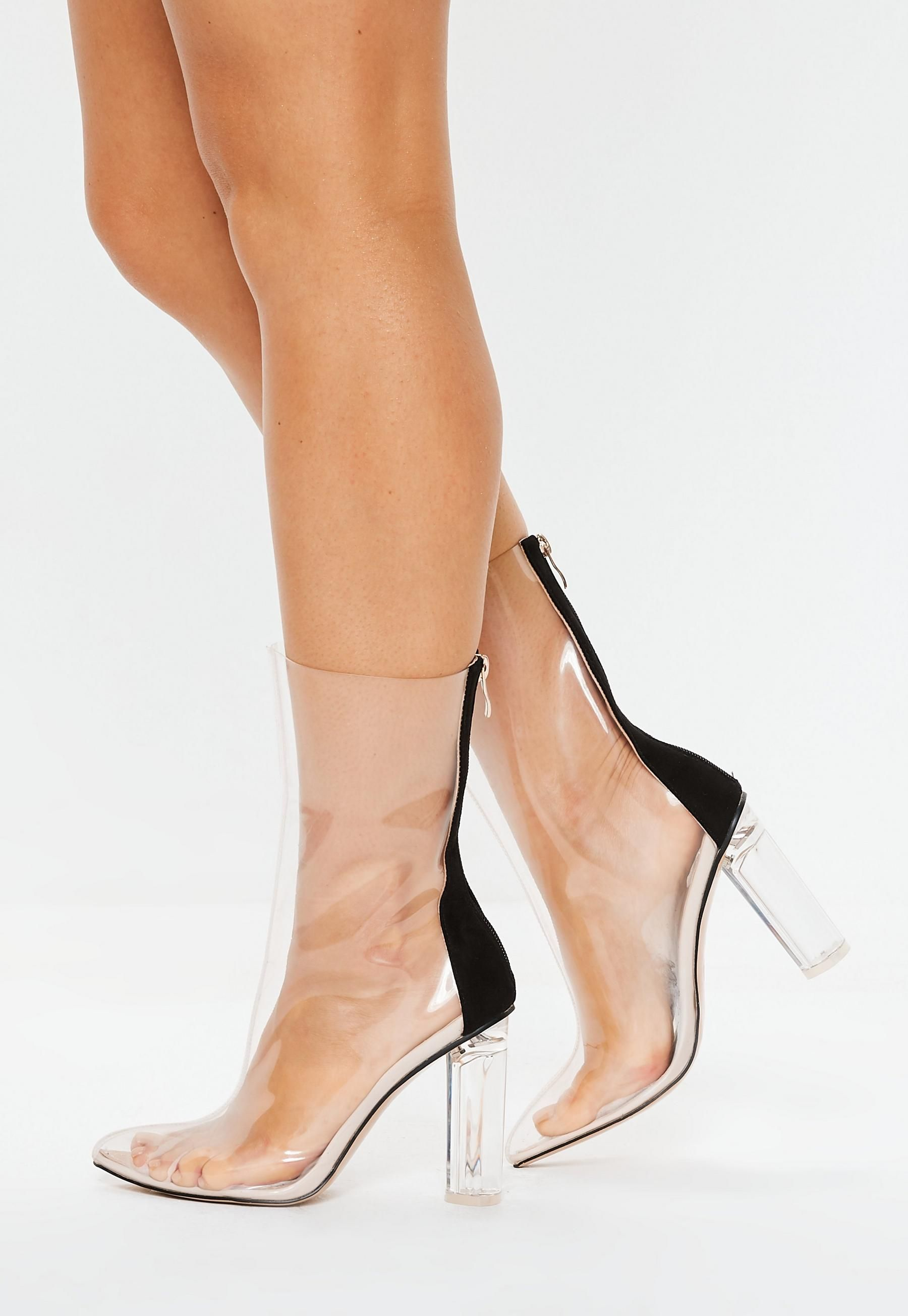 b867cdce7e8 Missguided - Clear Block Heel Ankle Boots in 2019 | Shoes ...
