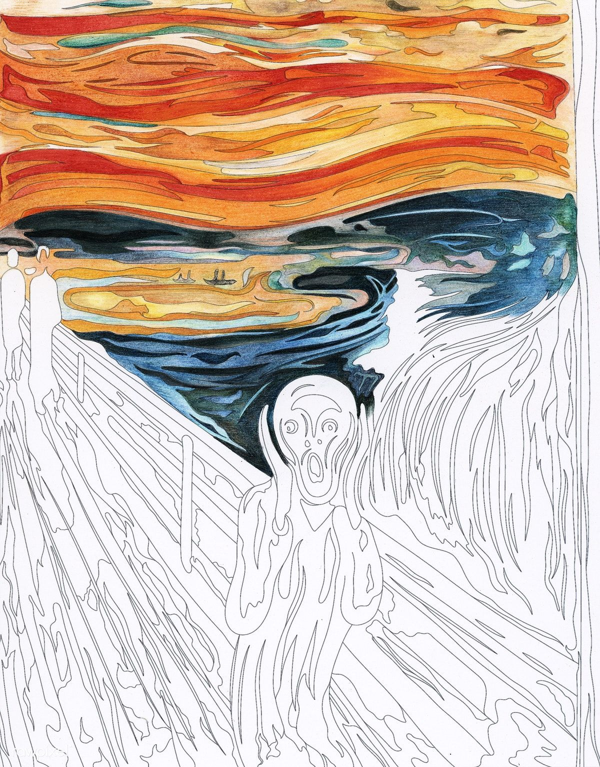 The Scream (1893) by Edvard Munch adult coloring page ...