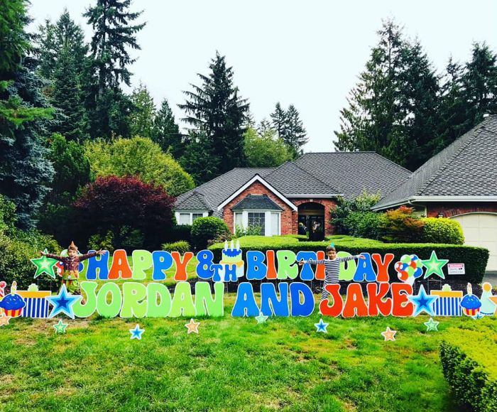 Happy Birthday Yard Sign Display with Name/Age Yard