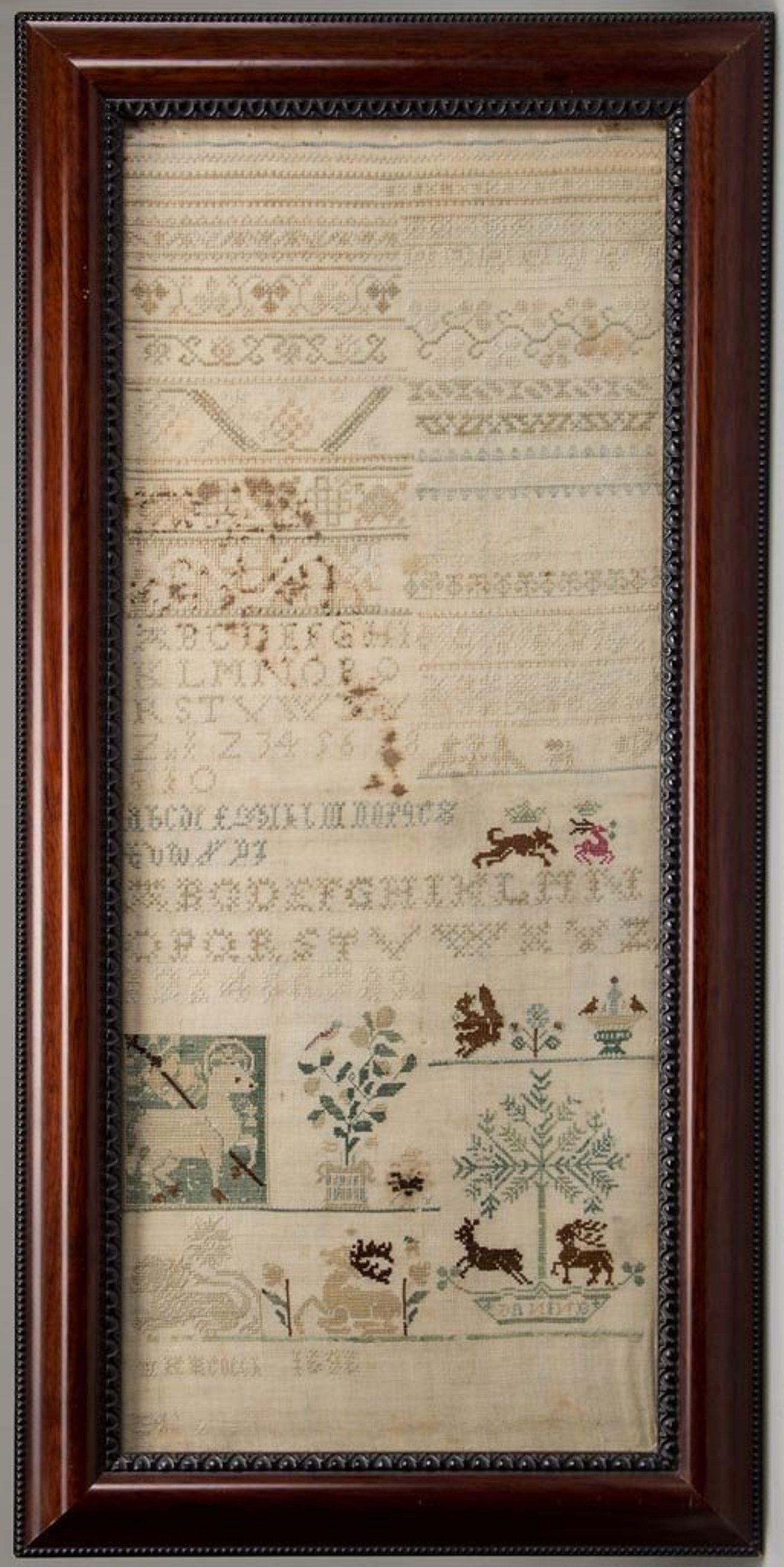 European seventeenth century needlework band sampler on seventeen