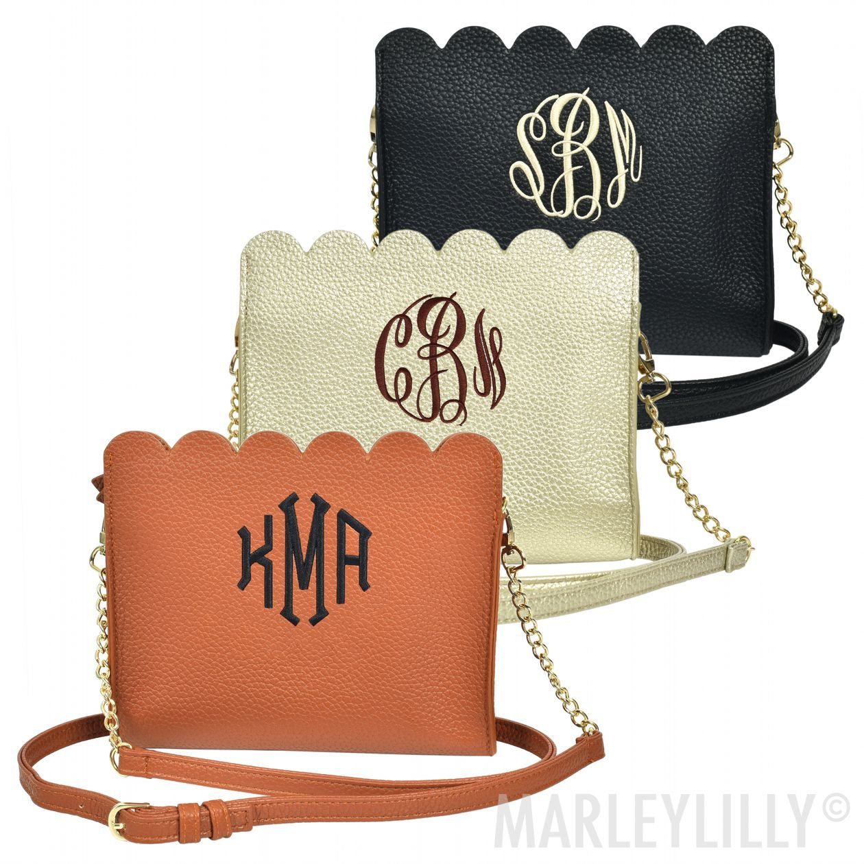 Monogrammed Scalloped Crossbody Bag Bags, Quilted purses