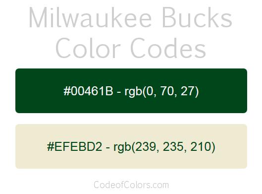 Milwaukee Bucks Team Color Codes